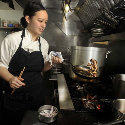 Chef Cara Stadler sautes mushrooms and shallots while preparing a dish in March 2014. Stadler plans to open another Portland restaurant.