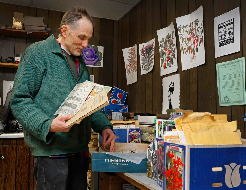 Gene Frey, who designs and illustrates Fedco Seed catalogs, sorts through a variety of old seed catalogues from which graphics were scanned into Fedco Seeds' online inventory.