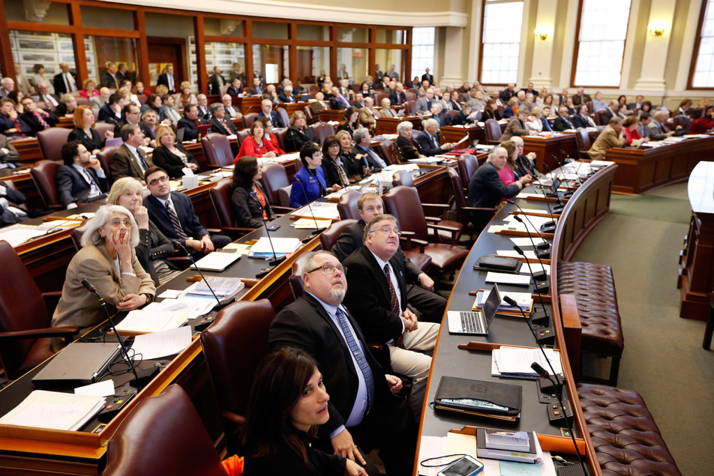 Legislators look to the voting board for the tally to learn that an order to impeach Gov. Paul LePage would not move forward Thursday at the State House in Augusta.