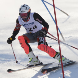 Greely's Axel Lindsay skis his final run on the way to a second-place finish in the Class A state skiing championship at Mt. Abram in Greenwood on Thursday. Carl D. Walsh/Staff Photographer