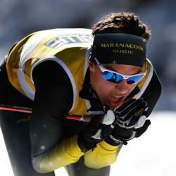Luca Deangelis of Maranacook conserves energy on his way to first place in the Class B race.