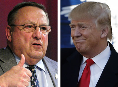 Gov. Paul LePage, who supported New Jersey Gov. Chris Christie until Christie dropped out of the presidential race this month, said Friday in a radio interview that he now backs Donald Trump. LePage had said in a radio interview Feb. 9 that