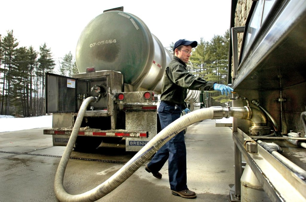 A driver for Poland Spring fills his tank truck with nearly 8,500 gallons of water at a spring in Fryeburg. The water was then to be trucked to a Poland Spring bottling facility in Framingham, Massachusetts. 2005 Press Herald photo