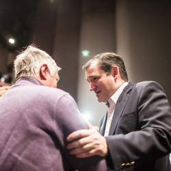 Republican presidential candidate Sen. Ted Cruz shakes hands with a rally attendee after speaking at the UMaine's Collins Center for the Arts on Friday.