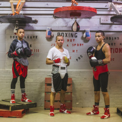 From left, Barry Wilson, Jorge Abiague and Tito Morales after a training session at the Portland Boxing Club. Club owner Bob Russo says Wilson and Morales are among the best young fighters he has trained in 25 years.