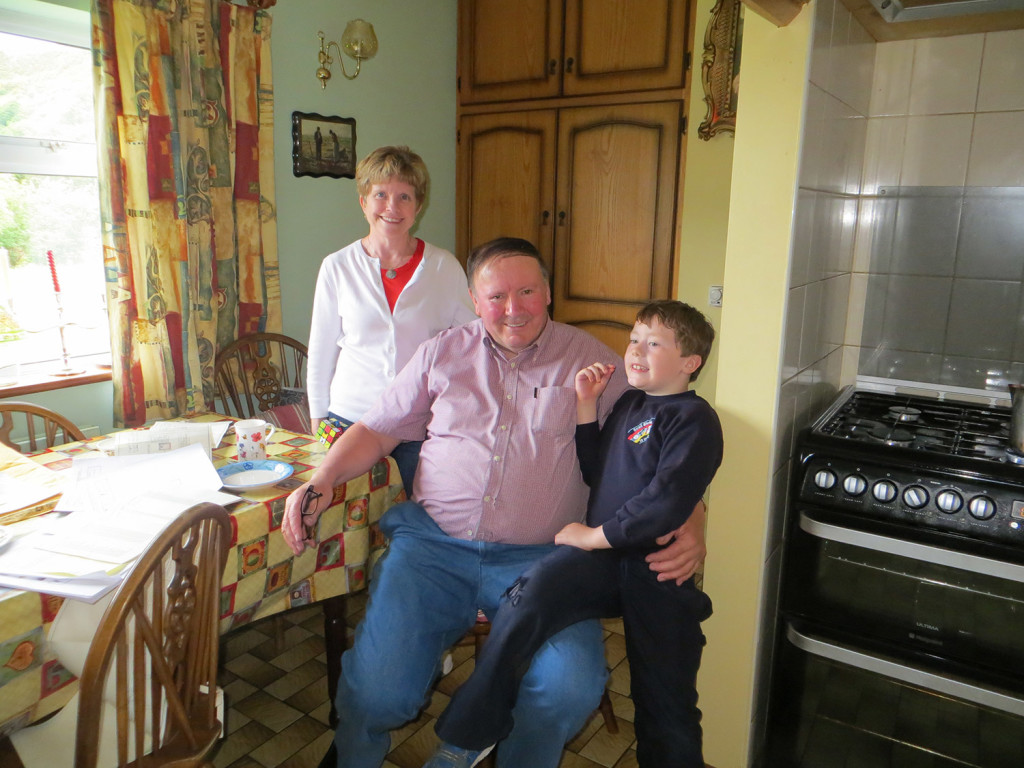 Deb Sullivan Gellerson of Gray stands in the kitchen of her third cousin Kevin Coyne in Maam, County Galway, Ireland. He's a Joyce family member she confirmed with DNA testing through the Maine Gaeltecht DNA Project of the Maine Irish Heritage Center.