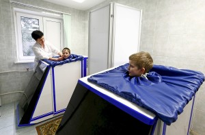 APRIL 25: Children who live in territory contaminated with radioactivity from the Chernobyl nuclear power plant accident take physiotherapy at a children's rehabilitation and health center on the outskirts of Minsk, Belarus.