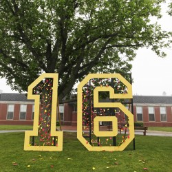 """SACO, ME - JUNE 5: A giant """"16"""" adorned with paper tickets naming each graduate decorates the lawn at Thornton Academy. (Photo by Jill Brady/Staff Photographer)"""