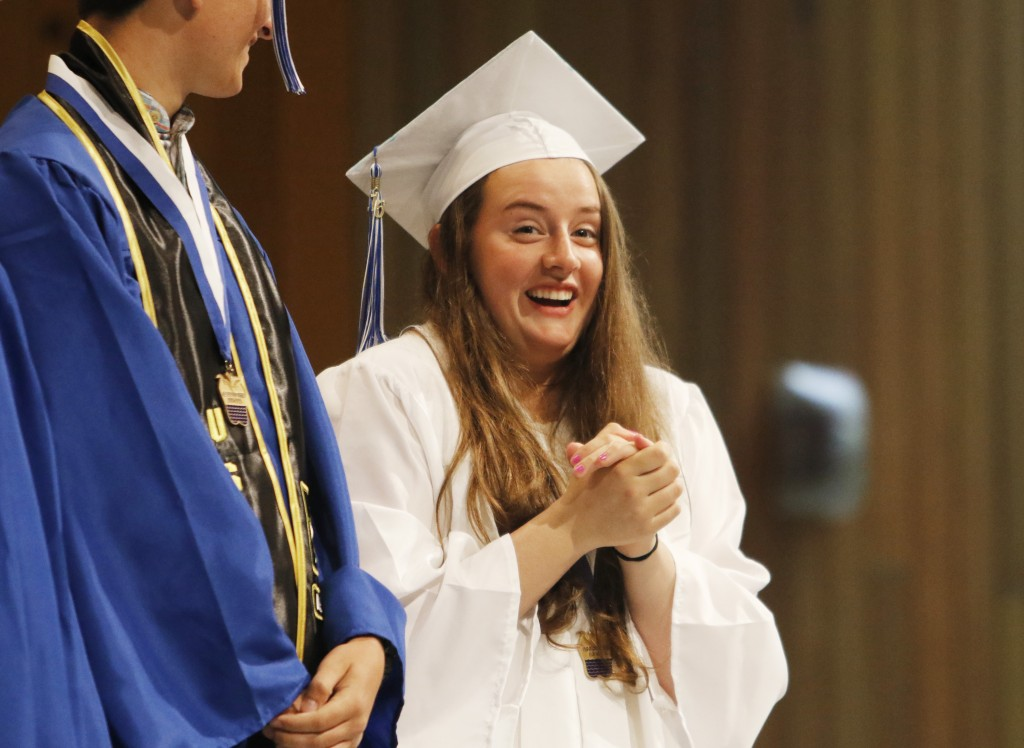 OLD ORCHARD BEACH, ME - JUNE 5: Jennifer Palkovic (cq) waits excitedly as her name is called to receive her diploma at Old Orchard Beach High School graduation.(Photo by Jill Brady/Staff Photographer)