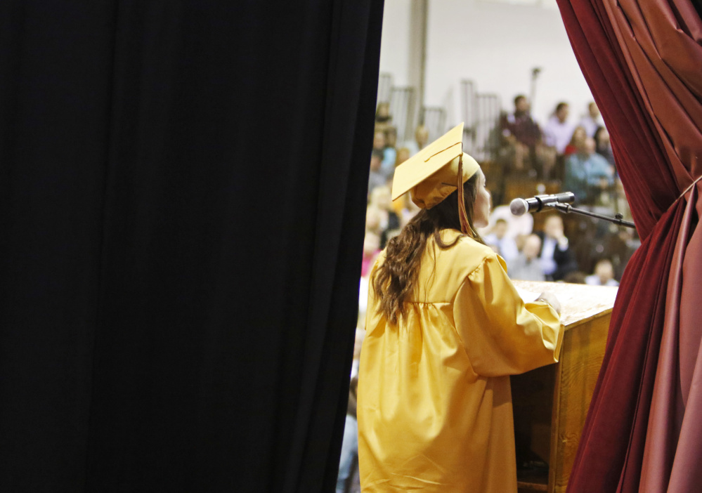 SACO, ME - JUNE 5: Valedictorian Taylor Lamarre delivers her speech at Thornton Academy graduation. (Photo by Jill Brady/Staff Photographer)
