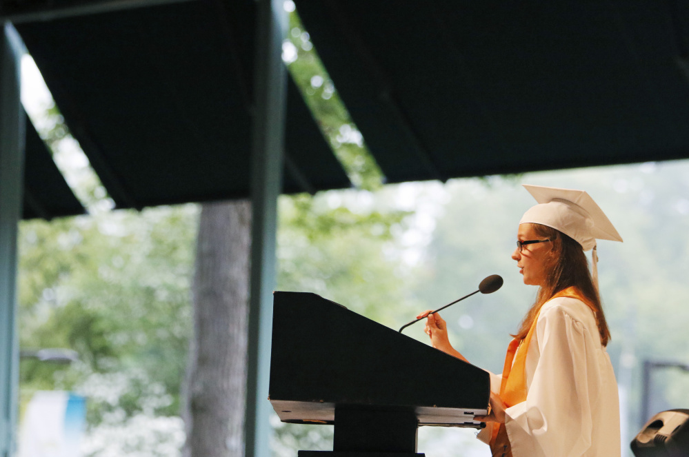 OLD ORCHARD BEACH, ME - JUNE 5: Jenny Cobb introduces honor speakers at Old Orchard Beach High School graduation.(Photo by Jill Brady/Staff Photographer)