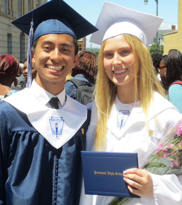 Johnny Phan and Kaylyn Madore graduated from Portland High School on Wednesday.