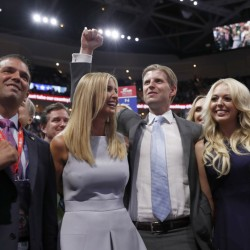 Donald Trump's children, Donald Trump Jr., left, Ivanka Trump, Eric Trump and Tiffany Trump, celebrate on the Republican convention floor on July 19, 2016, where delegates officially made their father the Republican presidential nominee.