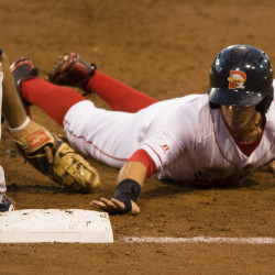PORTLAND, ME - AUGUST 23: Portland Sea Dogs baserunner Cole Sturgeon gets back to first safely on a pick off attempt against the New Hampshire Fisher Cats in AA baseball action at Hadlock Field in Portland on August 23, 2016 . (Photo by Carl D. Walsh/Staff Photographer)