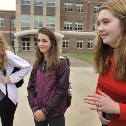South Portland juniors, from left, Shannon Murphy, Carolyn Breau and Chloe Birmingham say cutting two dances a year will hurt fundraising for the senior prom.