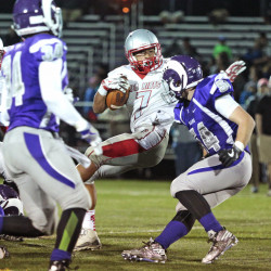 PORTLAND, ME - SEPTEMBER 23: South Portland vs Deering football. Artimus Stilley of South Portland tries to avoid Aryz Terlaje of Deering as he fights for extra yards in the third quarter. (Photo by Derek Davis/Staff Photographer)