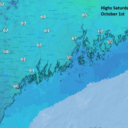 Highs on Saturday will be chilly with lots of clouds and little or no sunshine