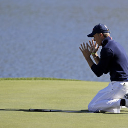 Jordan Spieth of the United States reacts after missing a long putt on the 17th hole during a foresomes match at the Ryder Cup golf tournament on Saturday at Hazeltine National Golf Club in Chaska, Minn.