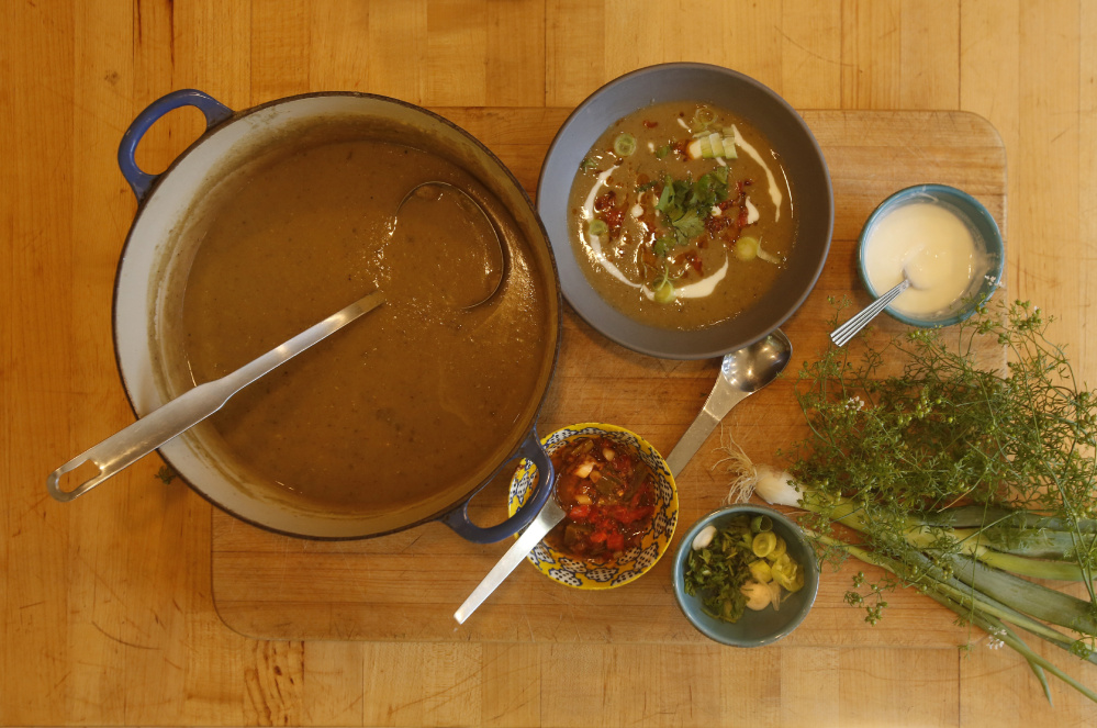 A pot of mulligatawny soup made by food writer Kathy Gunst, with accompaniments.