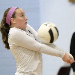 Andrea St. Pierre of Yarmouth controls a serve Thursday night during a four-game victory against Cape Elizabeth in a rematch of playoff opponents a year ago.