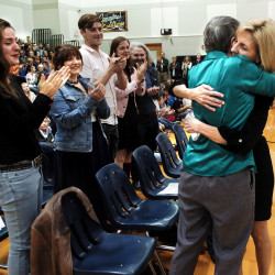 Skowhegan Area Middle School teacher Tammy Ranger, right, is hugged by her mother, Marlene Everett, after being selected as the 2017 Maine Teacher of the Year.