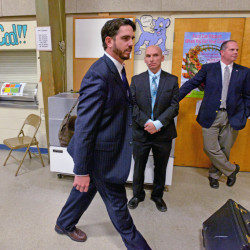 Waterville Senior High School principal Don Reiter leaves a public hearing on Nov. 10, 2015 at George J. Mitchell School in Waterville.