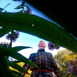 Tom Atwell in his Cape Elizabeth garden.