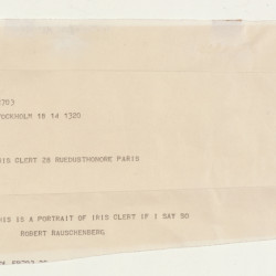 "Robert Rauschenberg, ""This Is a Portrait of Iris Clert If I Say So,"" detail, 1961, telegram."