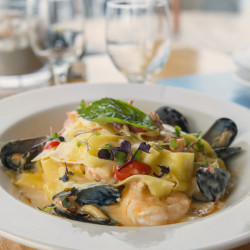 Everything comes together in the seafood pappardelle.
