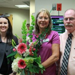 York Hospital's Annette Bettencourt, R.N., center, was awarded the Sister Consuela White Spirit of Nursing Award by the American Nurses Association. With her are, Ellie Milo, York Hospital's chief nursing officer, and Greg Dalzell, nursing director.