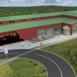 A digital rendering shows the Maine Narrow Gauge Railroad Co.'s proposed facility in Gray, which would include a museum, an engine house, a car barn and over 3 miles of track.