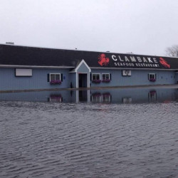 The Clambake restaurant at Pine Point in Scarborough got swamped by Tuesday afternoon's astronomically high tide.
