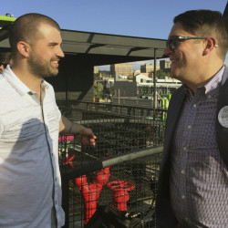 Denver marijuana consultant Kayvan Khalatbhari, left, chats with a lobbyist Joe Megysy at a fundraiser for marijuana policy reform in Denver. Drawn by the possibility of profits, a donor base of entrepreneurs is willing to spend money to change drug policy.