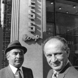 In this undated photo, Phil Chess, left, and Leonard Chess stand outside Chess Records in Chicago.