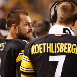 Landry Jones, left, doesn't expect the Steelers to tone down their offense when he starts in place of injured starting quarterback Ben Roethlisberger against the Patriots on Sunday. Roethlisberger is out after having knee surgery on Monday.