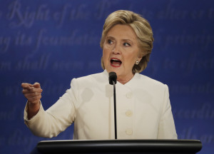 "Hillary Clinton speaks to Donald Trump during the heated debate in Las Vegas. ""Donald thinks belittling women makes him bigger,"" she said during one of many testy exchanges."