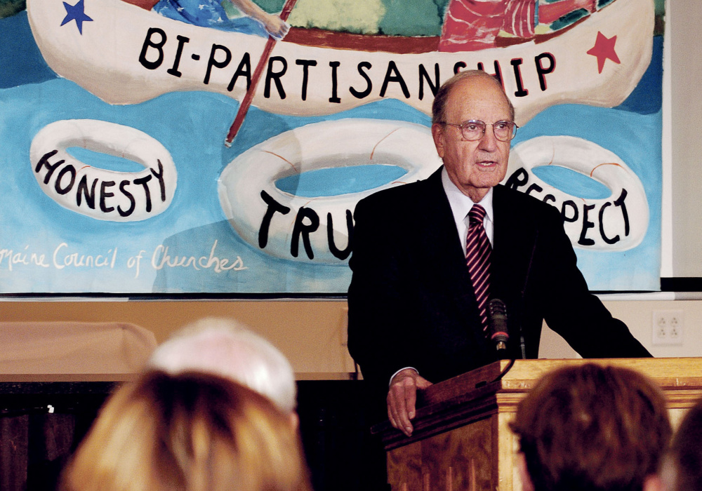 Former U.S. Sen. George Mitchell begins his talk about political civility Thursday during a Maine Council of Churches event in Waterville.