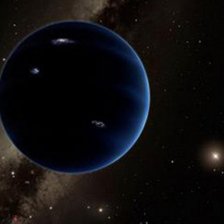 This artistic rendering shows the distant view from gaseous Planet Nine back toward the sun.
