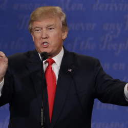 Donald Trump speaks during the third presidential debate with Hillary Clinton in Las Vegas on Wednesday. For seasoned Republicans, the aftermath of the debate brought a feeling that the election is lost.