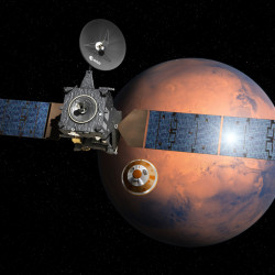 This artist's rendering provided by the European Space Agency shows the separation of the ExoMars 2016 entry, descent and landing demonstrator module, named Schiaparelli, center, from the Trace Gas Orbiter, left, heading for Mars. On Friday, Oct. 21, 2016, the ESA said their experimental Mars probe hit the right spot — but at the wrong speed — and may have ended up in a fiery ball of rocket fuel when it struck the surface. D. Ducros/ESA via AP