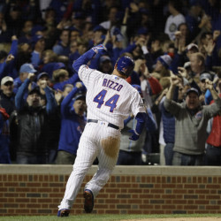 Chicago's Anthony Rizzo celebrates his home run during the fifth inning of Game 6 of the NLCS against the Los Angeles Dodgers on Saturday. The Cubs won, 5-0, to advance to the World Series against the Cleveland Indians.