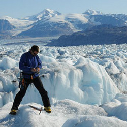 "Gordon Hamilton at work in Greenland in 2009. ""Gordon's glaciology research around the world ... was second to none,"" UMaine President Susan J. Hunter said Sunday after his death."