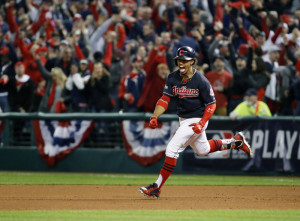 Cleveland Indians' Francisco Lindor rounds the bases on his two-run home run against the Toronto Blue Jays during the sixth inning in Game 1 on Oct. 14 of the American League Championship Series in Cleveland. A leader in the clubhouse and on the field, Cleveland's 22-years-old exuberant shortstop has blossomed in this postseason will now showcase his immense talents in the World Series.