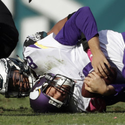 Vikings quarterback Sam Bradford was sacked six times Sunday, threw an interception and lost two fumbles in a 21-10 defeat at Philadelphia.