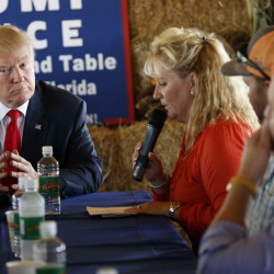 Republican presidential candidate Donald Trump speaks during a meeting withfarmers at Bedners Farm Fresh Market on Monday in Boynton Beach, Fla.