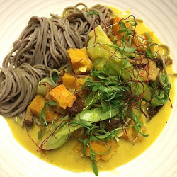 The squash and house yellow curry is the first vegan dinner entree on the menu at Union in the Press Hotel in Portland.