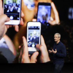Apple CEO Tim Cook emphasized growth in the company's services section as Apple reported Tuesday that it sold 45.5 million iPhones in the previous quarter, 5 percent fewer than it sold a year earlier.