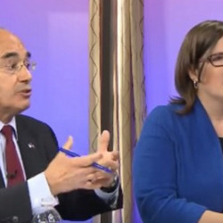 U.S. Rep. Bruce Poliquin, R-2nd District, debates Democratic challenger Emily Cain on Wednesday at a forum hosted by NBC affiliate WCSH6.