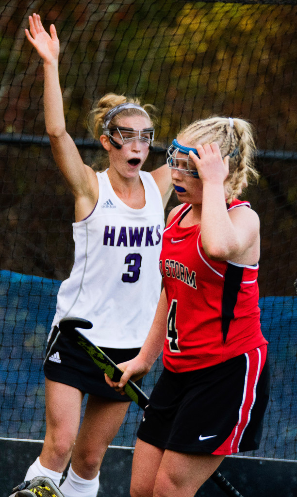 Marshwood's Mallory Nadeau celebrates her team's second goal of the game as Scarborough's Lucy Malia laments it. Marshwood went on to defeat Scarborough 2-0.