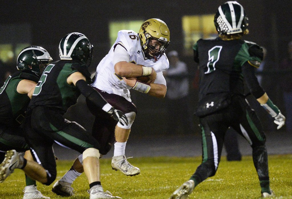 Thornton Academy's Michael Laverriere looks for running room against Bonny Eagle in Friday night's game in Standish.
